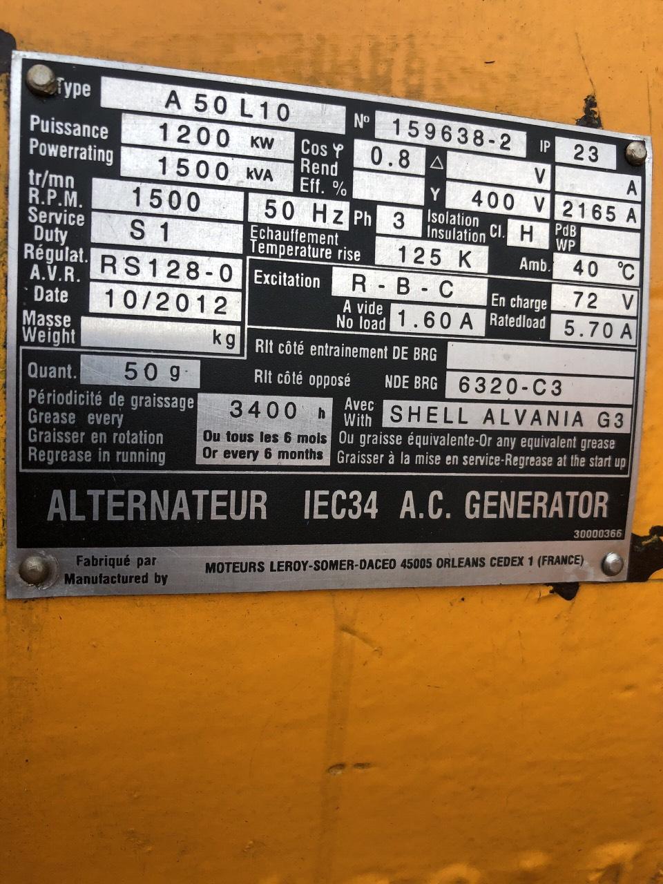 Máy phát điện cũ Cummins 1500 Kva